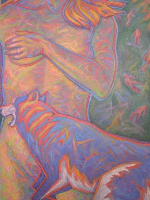 Art: Nude with Wolf Dog by Artist Virginia Ann Zuelsdorf