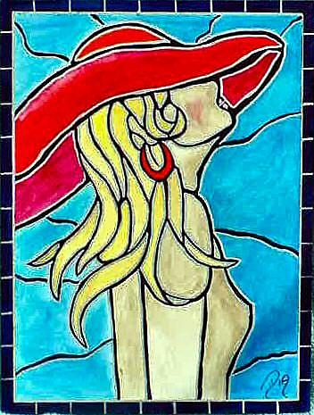 Art: Stained Glass Red Hat Nude by Artist Dia Spriggs