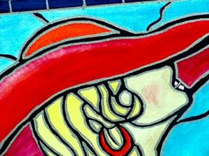 Detail Image for art Stained Glass Red Hat Nude