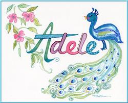 Art: Peacock Baby Name - Commission - Sold by Artist Patricia  Lee Christensen
