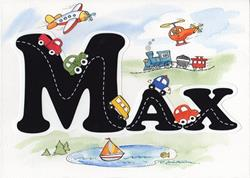 Art: Max Nursery Name Art - Commissioned Art - Sold by Artist Patricia  Lee Christensen