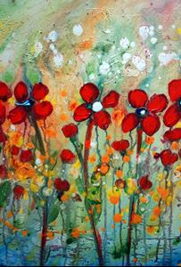 Detail Image for art RED DAISY RAINING FLOWERS