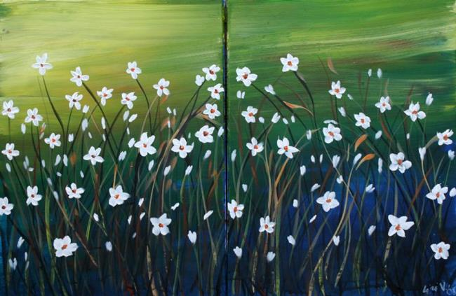 Art: DAISIES AND GRASS by Artist LUIZA VIZOLI