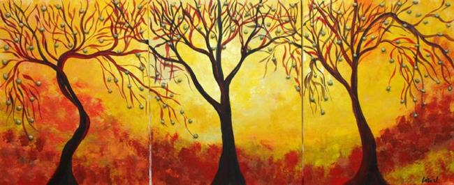 Art: BRIGHT AUTUMN TREES by Artist LUIZA VIZOLI