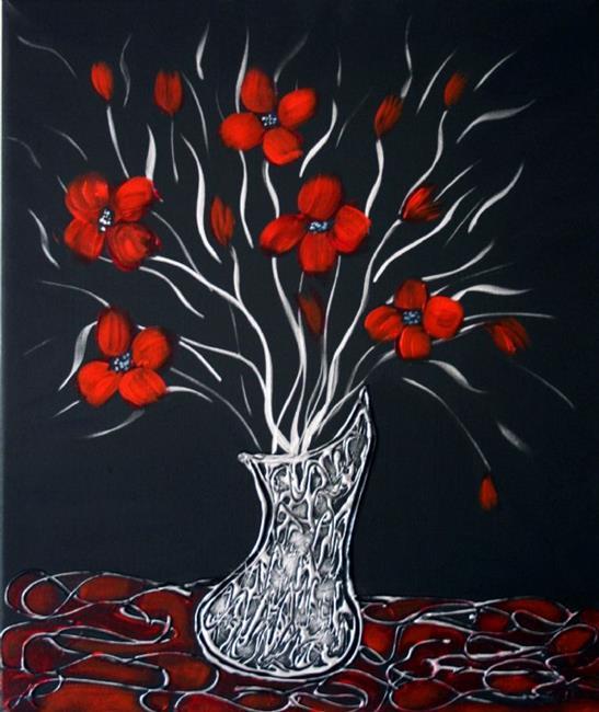 Art: RED FLOWERS-SILVER VASE by Artist LUIZA VIZOLI
