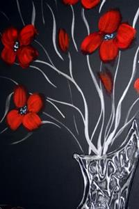 Detail Image for art RED FLOWERS-SILVER VASE