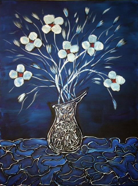 Art: WHITE FLOWERS,SILVER VASE on BLUE by Artist LUIZA VIZOLI