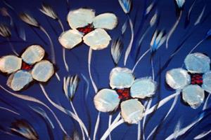 Detail Image for art WHITE FLOWERS,SILVER VASE on BLUE