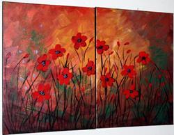 Art: RED FLOWERS IN SUNSET SERENADE by LUIZA VIZOLI