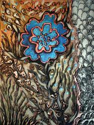 Art: LUCKY BLUE FLOWER by LUIZA VIZOLI