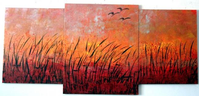Art: SUNSET OVER LAKE by Artist LUIZA VIZOLI