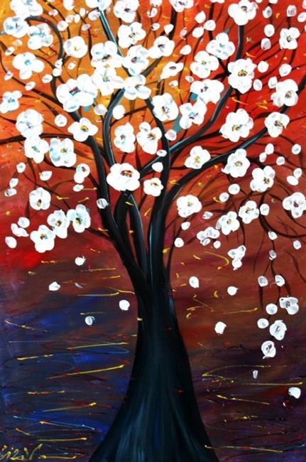 Art: CHERRY BLOSSOM at SUNSET  by Artist LUIZA VIZOLI