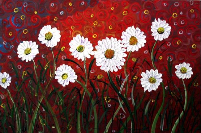 Art: WHITE FLOWERS RED SUNSET  by Artist LUIZA VIZOLI