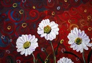 Detail Image for art WHITE FLOWERS RED SUNSET