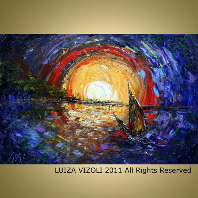 Art: Sailboat at SUNSET by Artist LUIZA VIZOLI