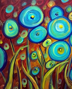 Detail Image for art AQUA BLUE FLOWERS