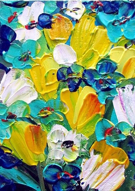 Art: YELLOW BLUE TURQUOISE FLORAL by Artist LUIZA VIZOLI