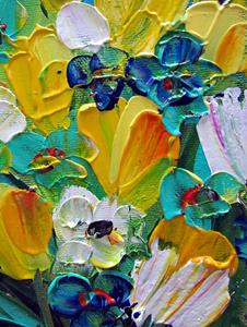 Detail Image for art YELLOW BLUE TURQUOISE FLORAL