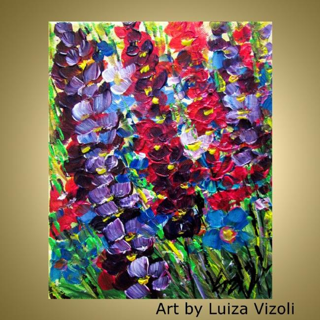 Art: TALL COLORFUL FLOWERS by Artist LUIZA VIZOLI