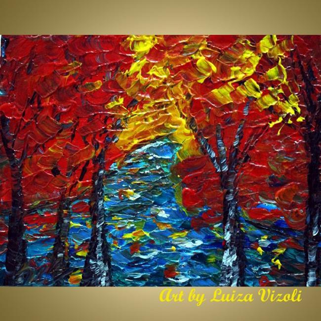 Art: RED TREES BLUE WATER by Artist LUIZA VIZOLI