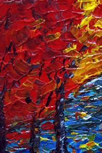 Detail Image for art RED TREES BLUE WATER