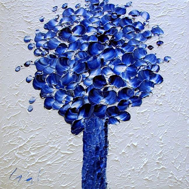 Art Blue Flowers Bouquet By Artist Luiza Vizoli