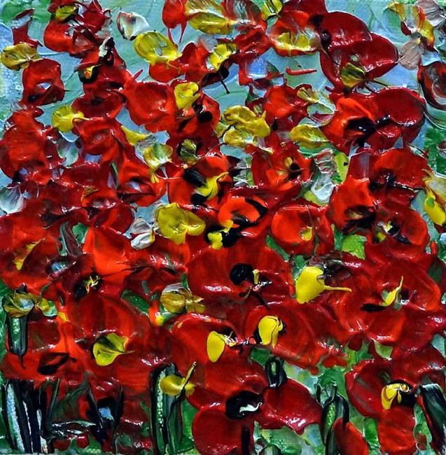 Art: RED SMALL WILDFLOWERS by Artist LUIZA VIZOLI