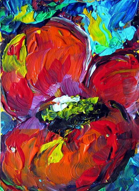 Art: RED POPPY -ACEO by Artist LUIZA VIZOLI