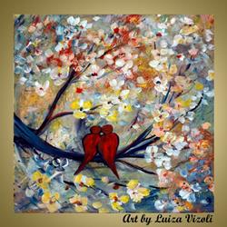Art: LOVEBIRDS by Artist LUIZA VIZOLI