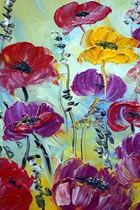 Detail Image for art TULIPS PURPLE,RED,YELLOW