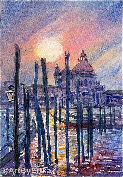 "Art: ""St. Mark's Cathedral at Sunset (view from the cana)l""  by Artist Erika Nelson"