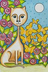 Art: Miss Kitty Loves Butterflies-Sold by Artist Sherry Key