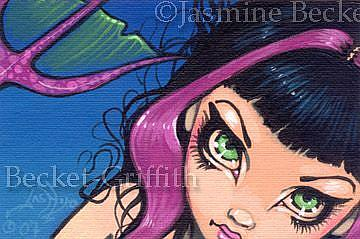 Art: Tiny Pink Tailed Mermaid OSWOA™  by Artist Jasmine Ann Becket-Griffith