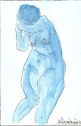 Art: Blue Nude # 2 original OSWOA painting by Artist Nancy Denommee