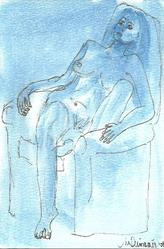 Art: Blue Nude # 4 original OSWOA painting by Artist Nancy Denommee