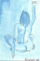 Art: Blue Nude # 5 original OSWOA painting by Artist Nancy Denommee