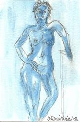 Art: Blue Nude # 9 original OSWOA painting by Artist Nancy Denommee