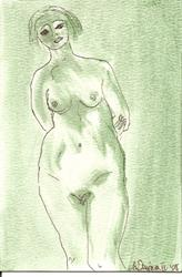 Art: Green Nude # 1 original OSWOA painting by Artist Nancy Denommee