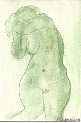 Art: Green Nude # 3 original OSWOA painting by Artist Nancy Denommee