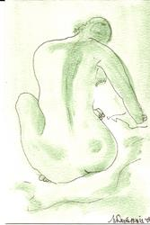 Art: Green Nude # 5 original OSWOA painting by Artist Nancy Denommee