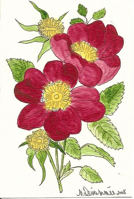 Art: Wild Rose original OSWOA painting by Artist Nancy Denommee