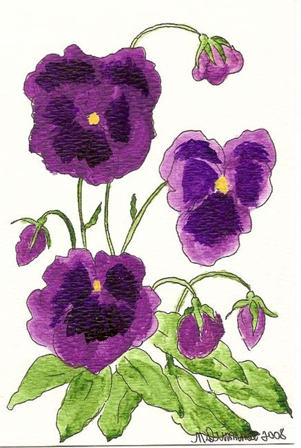 Art: Purple Pansies original OSWOA painting by Artist Nancy Denommee