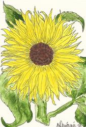 Art: Sunflower original OSWOA painting by Artist Nancy Denommee