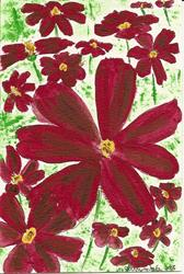 Art: Chocolate Cosmos original OSWOA painting by Artist Nancy Denommee