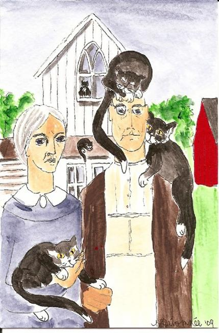 Art: American Gothic with Tuxedo Cats by Artist Nancy Denommee