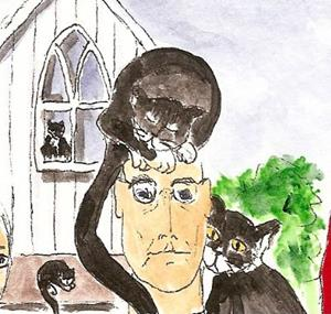 Detail Image for art American Gothic with Tuxedo Cats