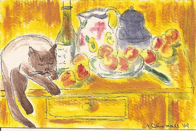 Art: Still Life with Apples, a Bottle, a Milk Pot and a Cat by Artist Nancy Denommee