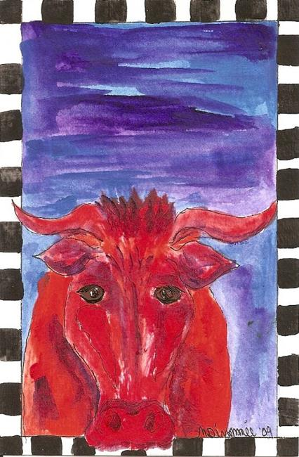 Art: Orange Bull with Darkening Sky original OSWOA painting by Artist Nancy Denommee