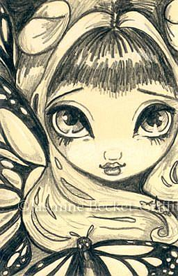 Art: Golden Butterflies Drawing OSWOA™  by Artist Jasmine Ann Becket-Griffith