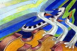 Art: Swan Lake by Artist Judith A Brody